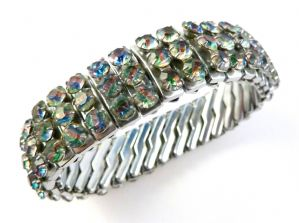 Vintage Rainbow Glass Rhinestone Triple Row Empire Bracelet.